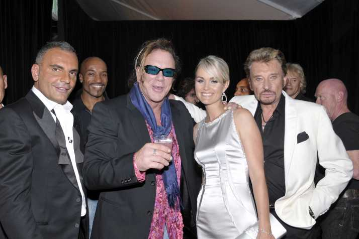 Christian Audigier, Mickey Rourke, Johnny Hallyday and Laetitia. Christian Audigier 50th birthday party at the Petersen Automotive museum in Handcock park, inside Los Angeles, US-23/05/08