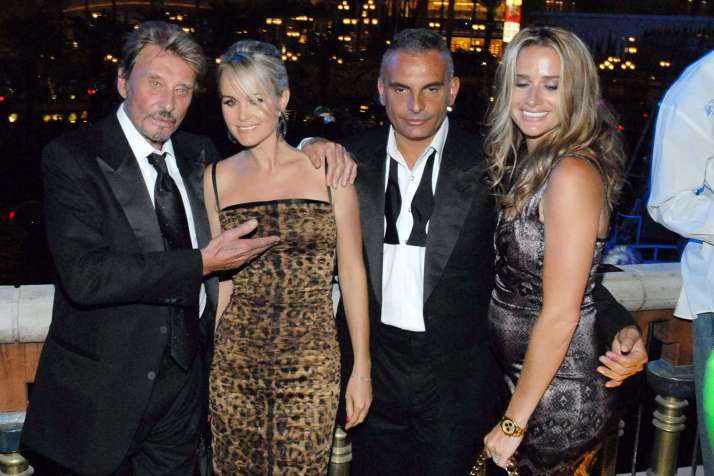 Johnny Hallyday, Laetitia Hallyday, Christian Audigier and Ira Audigier Grand opening of 'Christian Audigier The Nightclub' at Treasure Island hotel casino Las Vegas, Nevada - 04.07.08 Credit: (Mandatory): WENN/christian_audigier_club_opening_060708.christi/0807061044